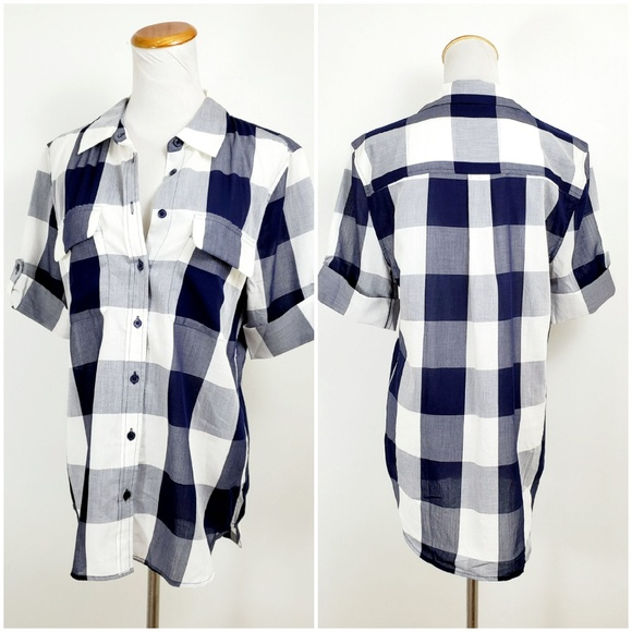 Equipment Tops - Equipment Femme M Shirt Gingham Plaid Checkers